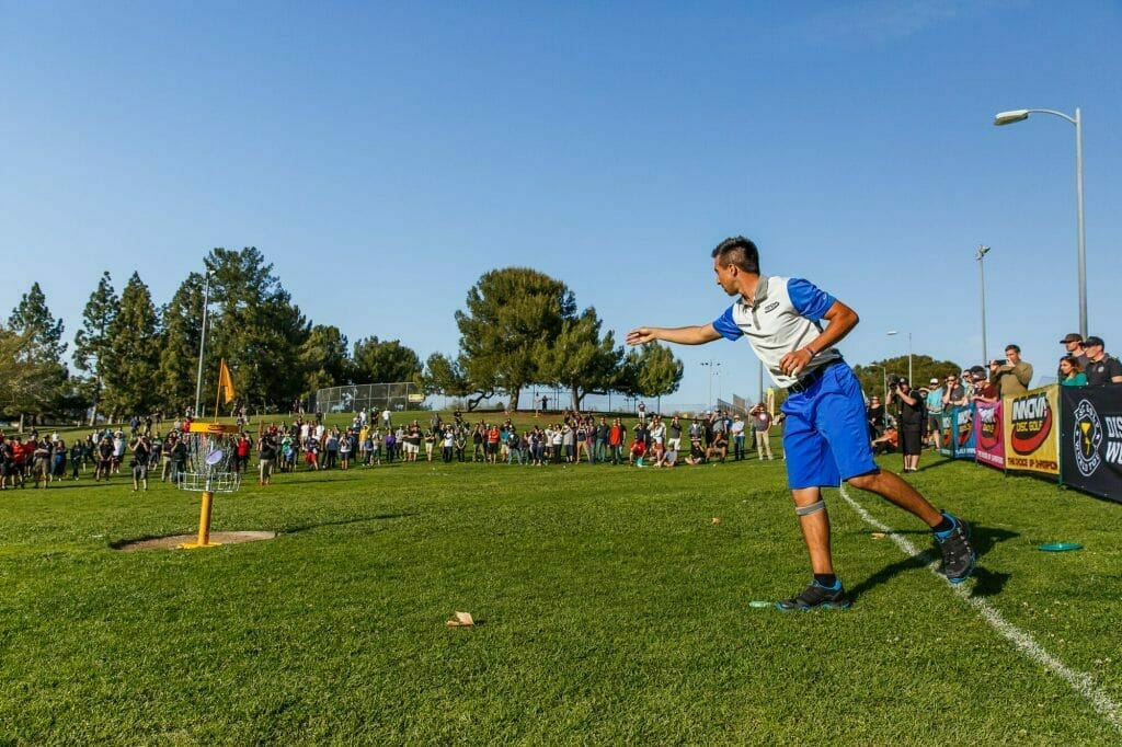 Paul McBeth putts out to win the La Mirada Open in March. He'll change his putting stance this weekend to take strain off his right knee. Photo: Disc Golf World Tour