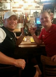 World champion disc golfers Avery Jenkins (left) and Nate Doss enjoy a beer at 99 Bottles in Santa Cruz, California. Photo: Valarie Doss