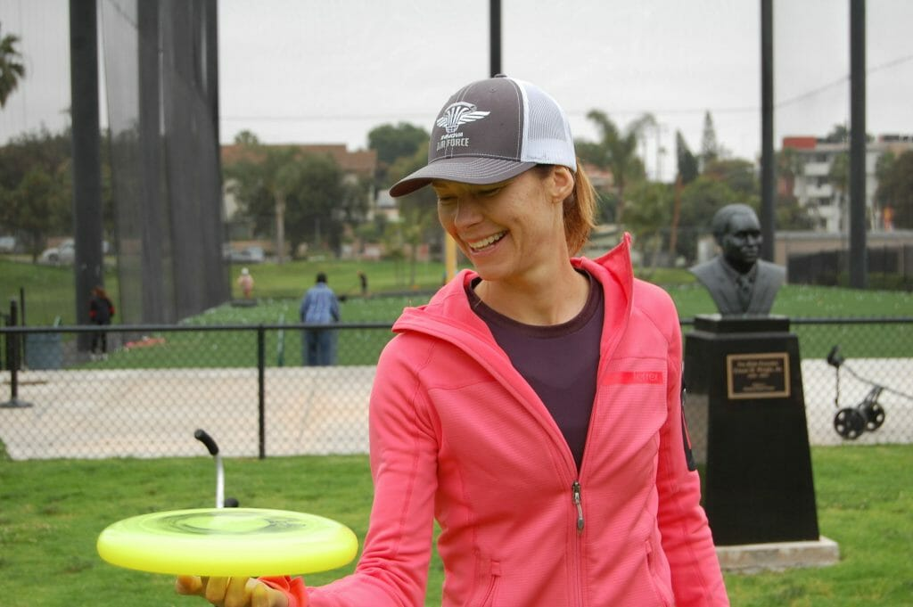 Juliana Korver warms up at the PDGA Women's Global Event in San Diego, California.