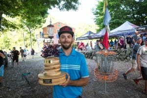Bradley Williams and the Vibram Open trophy. Photo: Stu Mullenberg, The Flight Record