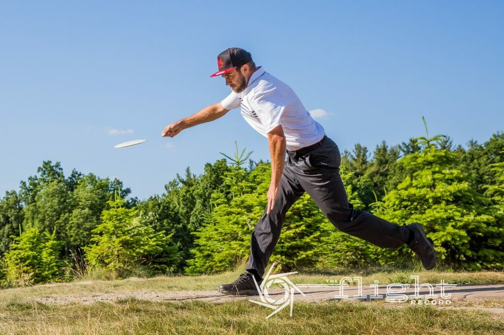 Bradley Williams takes a one throw lead into today's Vibram Open final. Photo: Stu Mullenberg, The Flight Record
