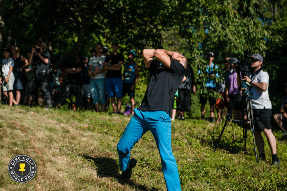 Paul McBeth reacts to his missed putt on Hole 18 of the final round of the European Masters. Photo: Eino Ansio, Disc Golf World Tour
