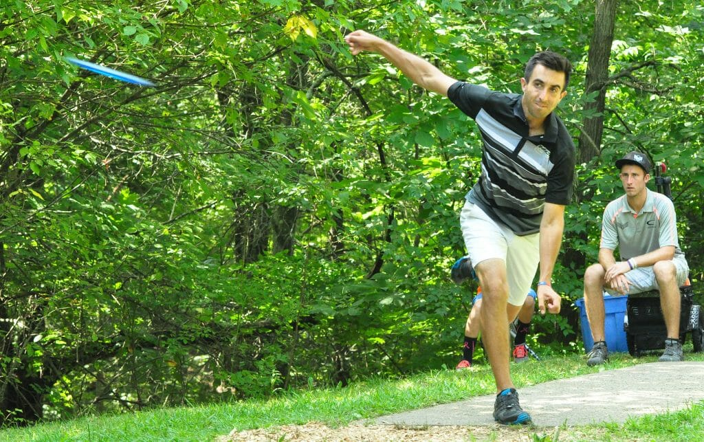 Paul McBeth, shown during Saturday's second round, beat Ricky Wysocki handily at the Brent Hambrick Memorial Open in Columbus, Ohio. Photo: PDGA