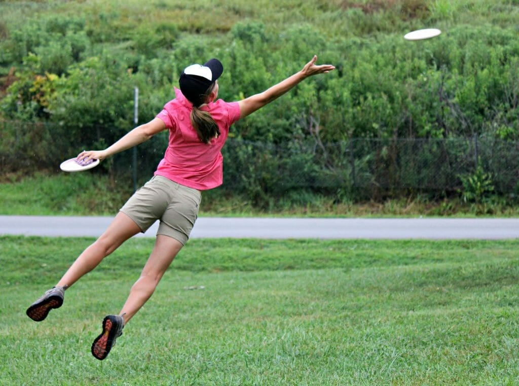 Paige Pierce jumped to the top of the leaderboard after round four of the PDGA Professional Disc Golf World Championships in Emporia, Kansas on Friday. Photo: Rebecca Heiam