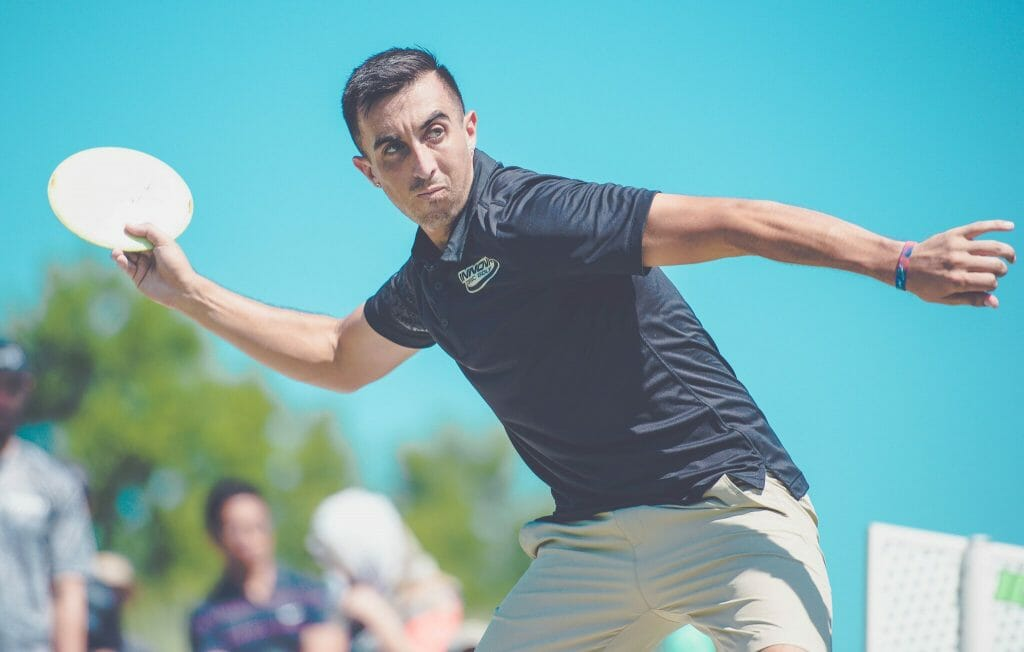 Paul McBeth carded back-to-back eagles en route to a first round lead at the PDGA Professional Disc Golf World Championships in Emporia, Kansas. Photo: Juan Luis Garcia, Overstable Studios