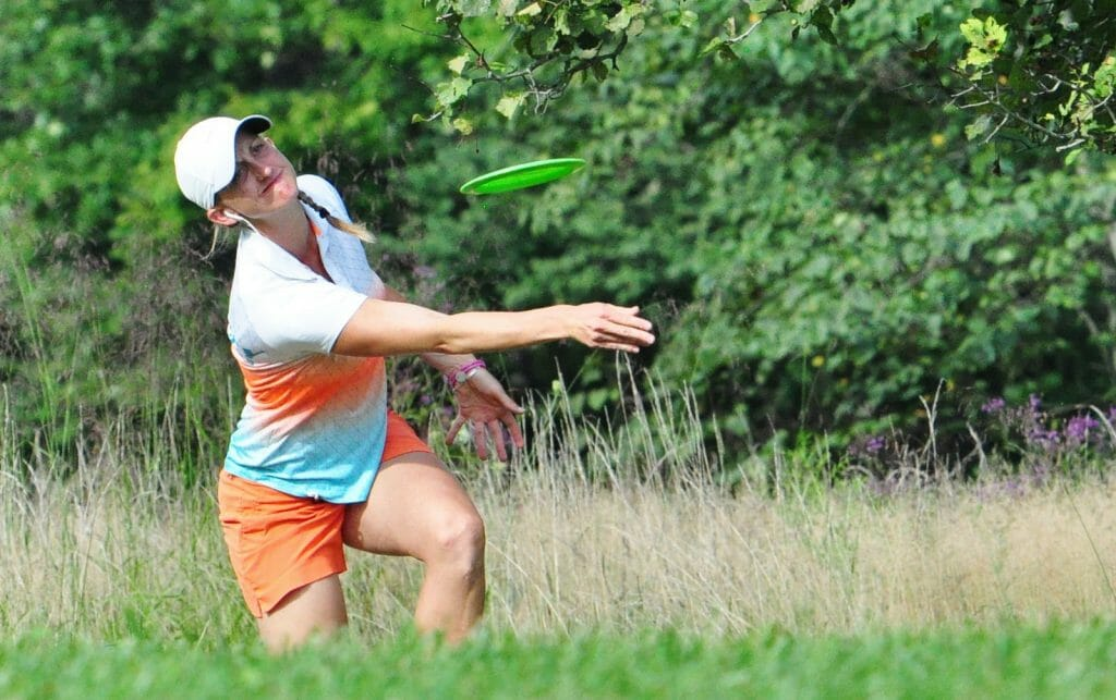 Sarah Hokom, shown above at the Brent Hambrick Memorial Open, took an early lead at the United States Women's Disc Golf Championship in Sabattus, Maine. Photo: PDGA