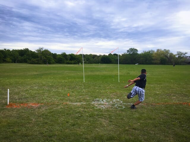 Players test their accuracy, among other skills, at the Discmania Combine.