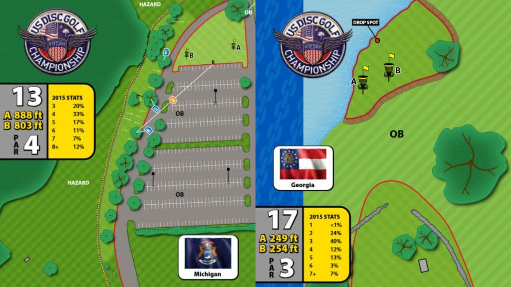 Holes 13 and 17 of the Winthrop Gold Disc Golf Course at the United States Disc Golf Championship.