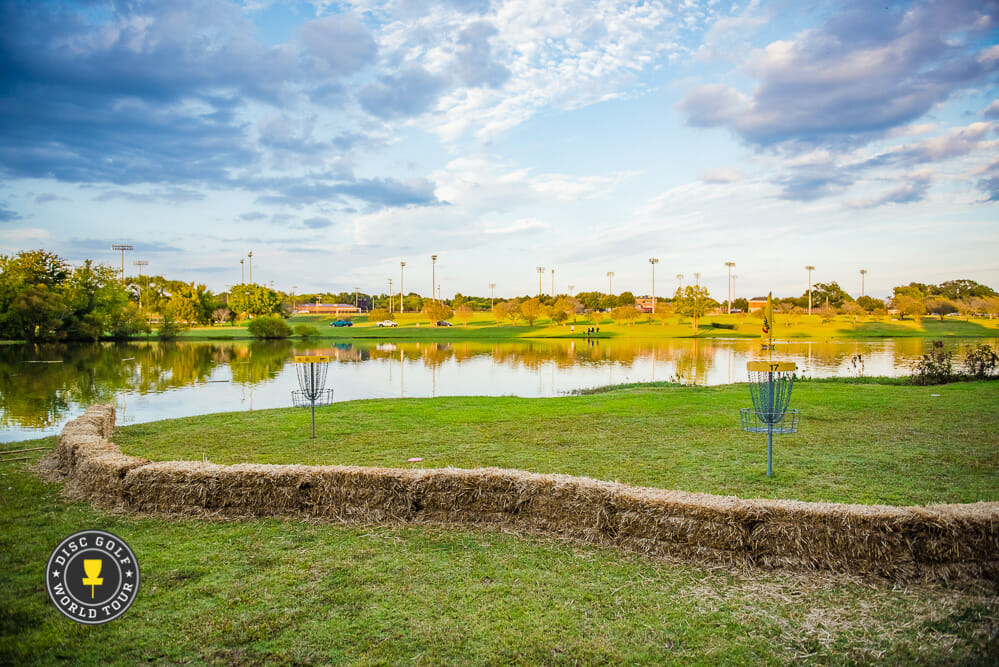 Winthrop Gold's iconic island hole will not be played during the USDGC's final round due to inclement weather. Photo: Eino Ansio, Disc Golf World Tour
