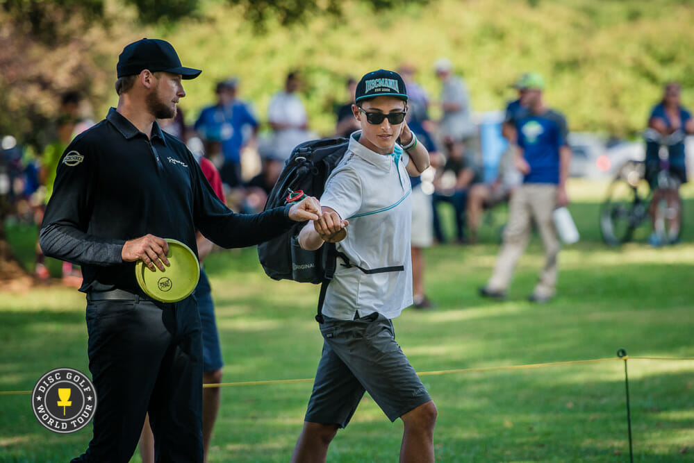Jeremy Koling (left) trails Eagle McMahon by four shots heading into round three of the USDGC. Photo: Eino Ansio, Disc Golf World Tour