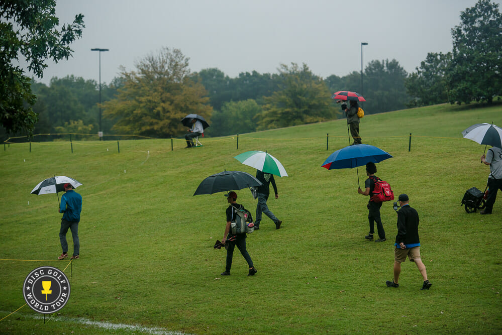 With conditions set to be worse than they were Friday (above), USDGC officials decided to cancel the event. Photo: Eino Ansio, Disc Golf World Tour