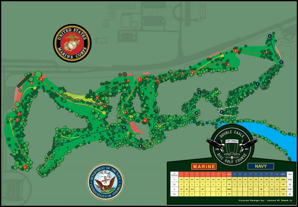 A draft of the Double Eagle Disc Golf Course's Marine/Navy layout, as of December 2, 2016. Photo: Double Eagle Disc Golf Course on Facebook