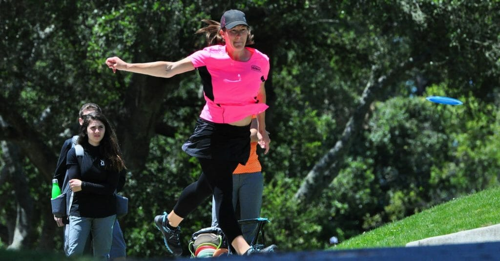 "Jenkins tees off during the final round of the 2016 ""Steady"" Ed Masters Cup in Santa Cruz, California. Photo: PDGA"